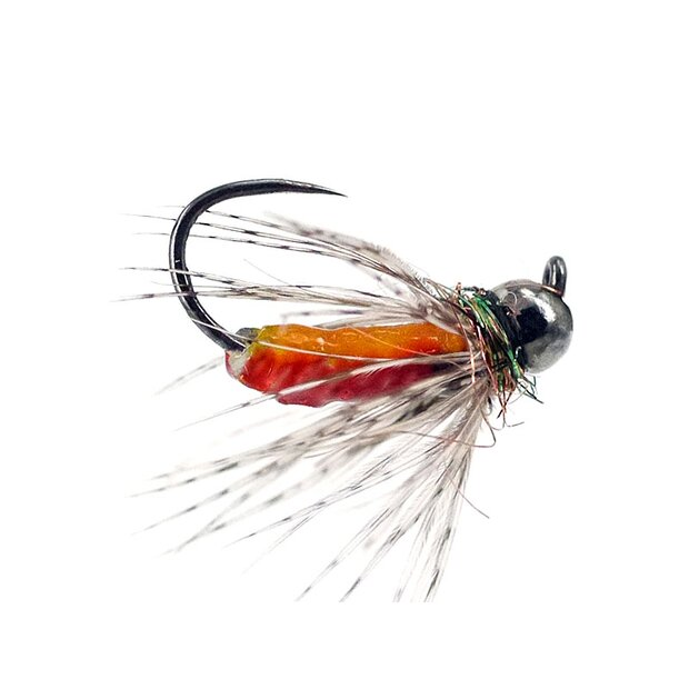 FC Hackled Jig Orange Red BL TG